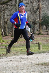 Brian demonstrates his levitating O-shoes en route to the finish