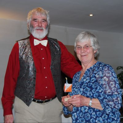 Pat is awarded her 'Ricky' for organising yet another successful Sarum Dinner