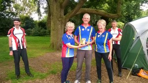 Charlotte, Gwyn and Liz proudly retain the Sarum Trophy at the 2016 Wessex Hardy Relays at Upton Park
